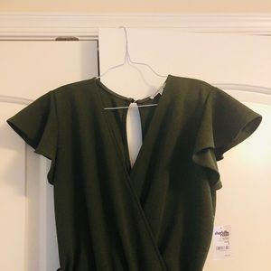 ONE pc S Jumpsuit w/waist tie solid Army green